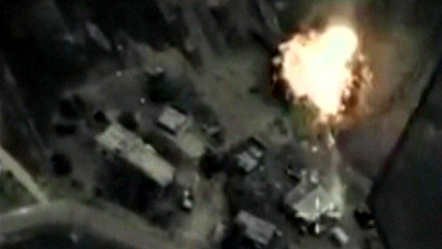 Still from cockpit footage that purports to show Russian air strikes being carried out in Syria.