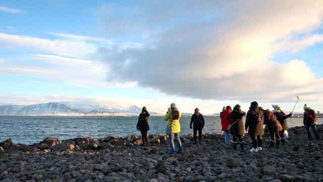 Turistas en Islandia
