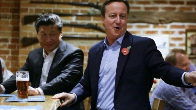 બ્રિટનના ભૂતપૂર્વ વડાપ્રધાન ડેવિડ કેમરોન અને ચીનના રાષ્ટ્રપતિ શી જિનપિંગ