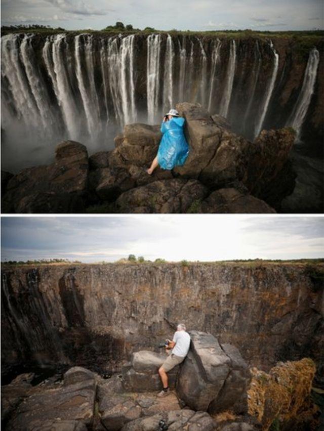 En estas dos imágenes se observa un mismo punto de las cataratas visto en enero de este año y ahora.