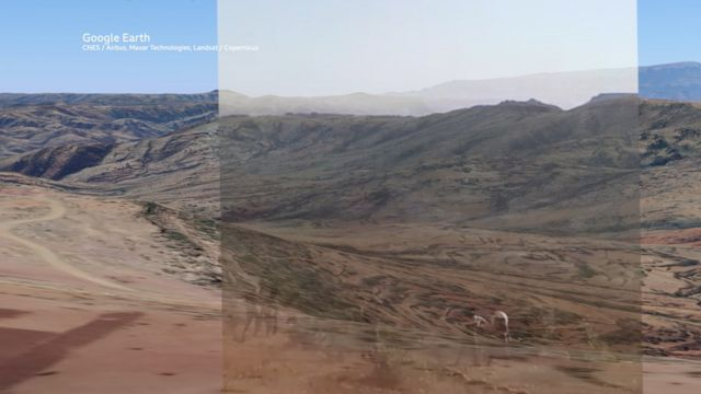 Footage from one of the video clips was overlaid on a 3D rendering of the terrain to find a match