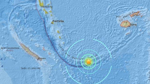 El Servicio Geológico de EE.UU. ubicó el epicentro a unos 100 km de Vanuatu.
