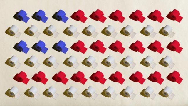 Ilustração com rolos de papel higiênico com as cores da bandeira americana