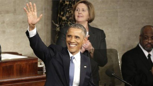 President Obama waves at people at his penultimate State of the Union address in 2015