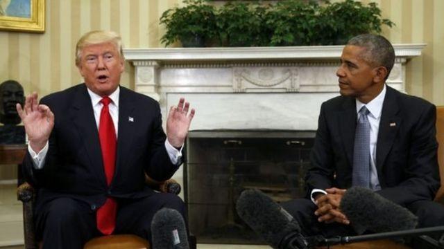 اجتمع أوباما بترامب في البيت الأبيض