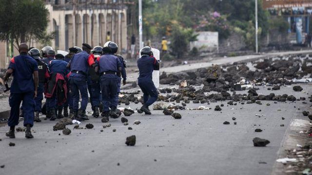 Abapolisi ba Kongo bahanganye n'abiyerekana i Goma uno munsi itariki 28/12/2018