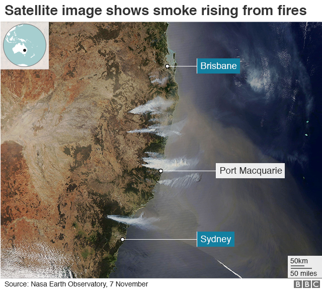 Satellite image showing smoke rising from fires along Australia's east coast