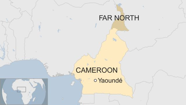 Map showing the Far North region within Cameroon