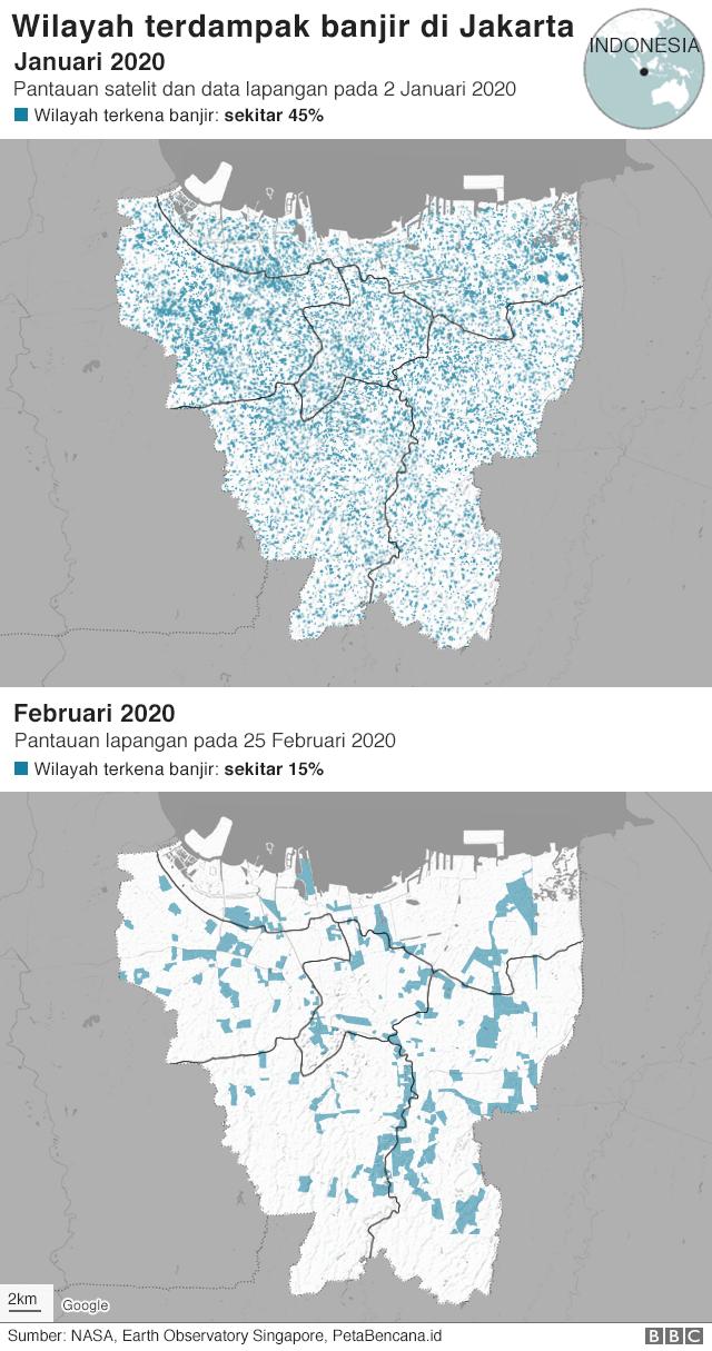 Peta banjir di Jakarta pada Januari dan Februari 2020.