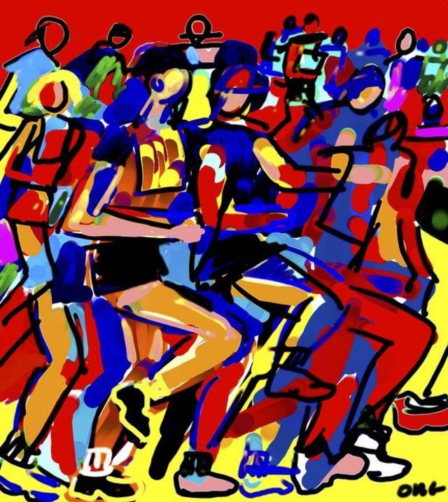 Dibujo de maratón moderna