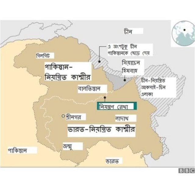 কাশ্মীরের বিভিন্ন অঞ্চল নিয়ন্ত্রণ করছে পাকিস্তান, ভারত ও চীন
