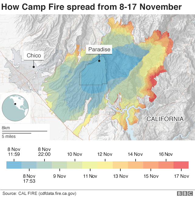 Map showing how fast the fire spread