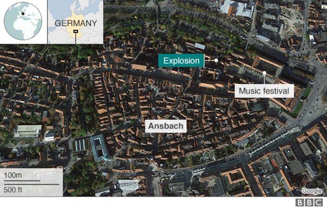 アンスバッハと爆発現場、音楽祭の位置関係