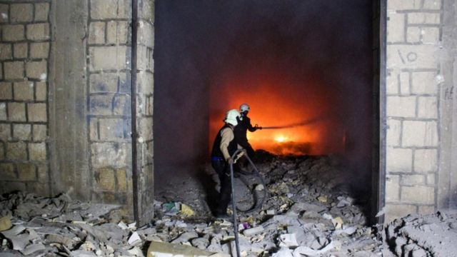 The White Helmets fight a fire in Idlib