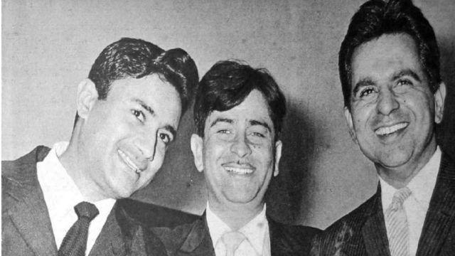 Dilip Kumar da abokansa Raj Kapoor da Dev Anand