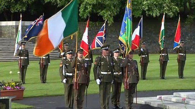 In Dublin, a military ceremonial event was held at the War Memorial Gardens at Islandbridge