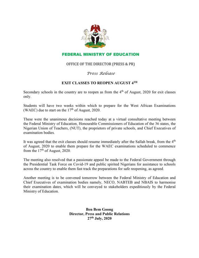 Nigerian schools resumption and Waec examination date: