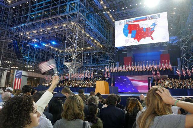 Evento de Clinton la noche electoral.