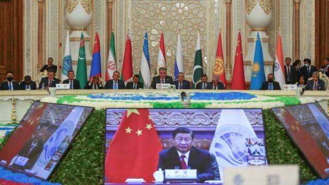 9月17日,中国领导人习近平用视频方式在上海合作组织成员国元首理事会第21次会议上讲话。(photo:BBC)