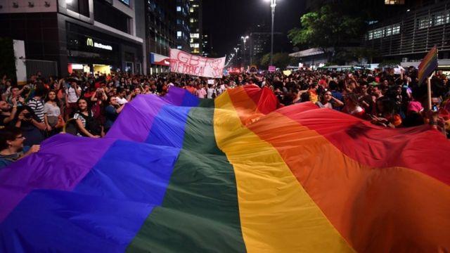 Protesto pelos direitos LGBTI em São Paulo, em setembro de 2017