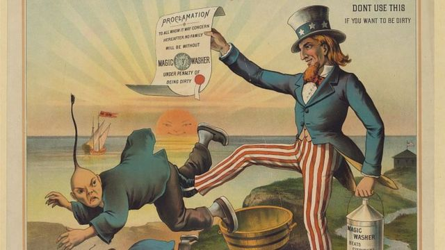 Cartoon showing an image of Uncle Sam expelling a Chinese immigrant.