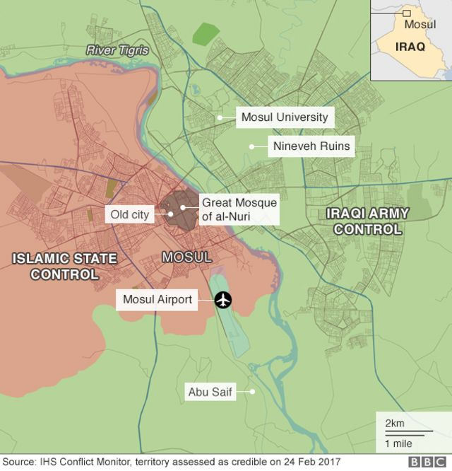 Map showing territory recaptured by government forces around the Iraqi city of Mosul