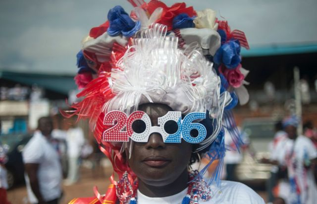 "A supporter of Ghana""s largest opposition party New Patriotic Party (NPP) is seen at the party manifesto launch in Accra on October 9, 2016. General elections are due in December 2016"