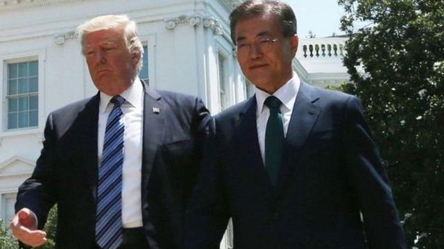 Rais Donald Trump na mwenzake wa Korea Kusini Kim Jae-in