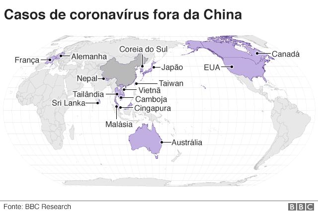 Casos de coronavírus fora da China
