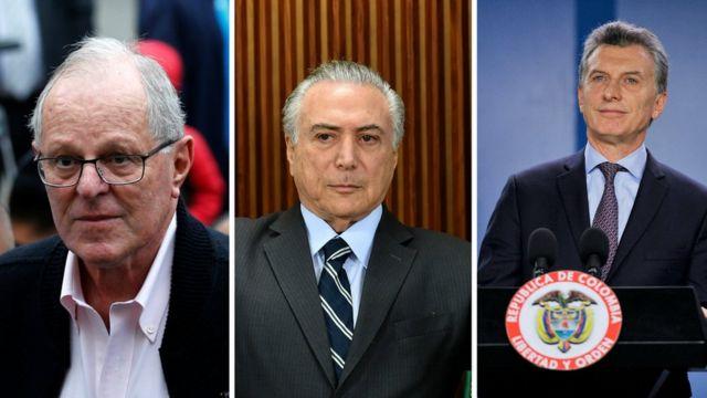 Presidentes Pedro Pablo Kuczynski, Michel Temer e Maurício Macri