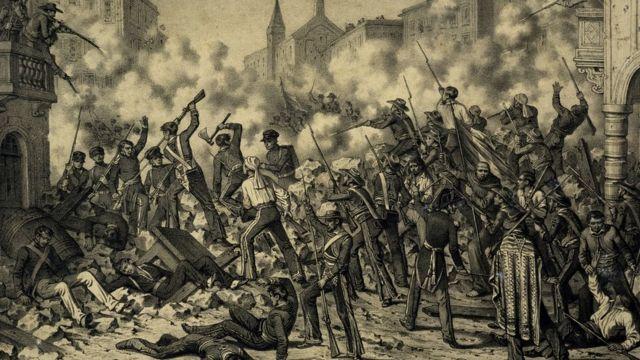 Grabado de la Batalla de Monterrey