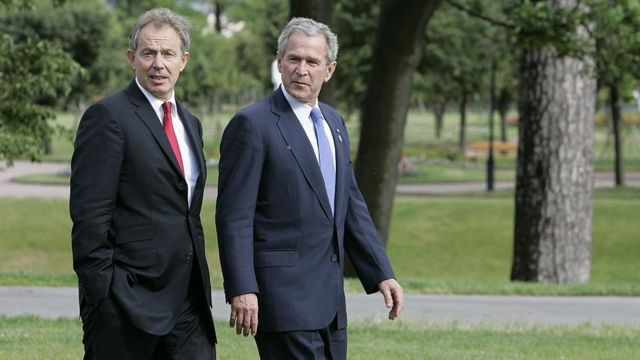 Tony Blair y George Bush