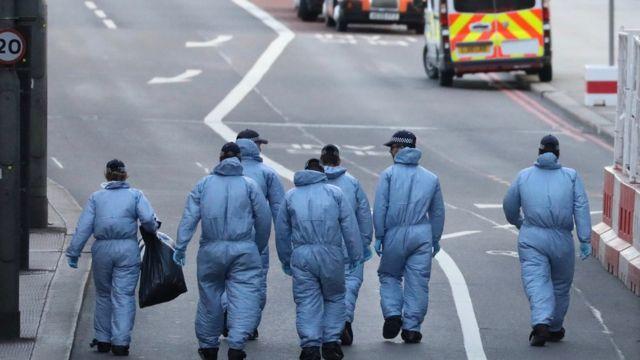 Forensic officers on London Bridge