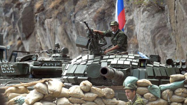 Российский танк в Цхинвали, Южная Осетия, 21 августа 2008 года