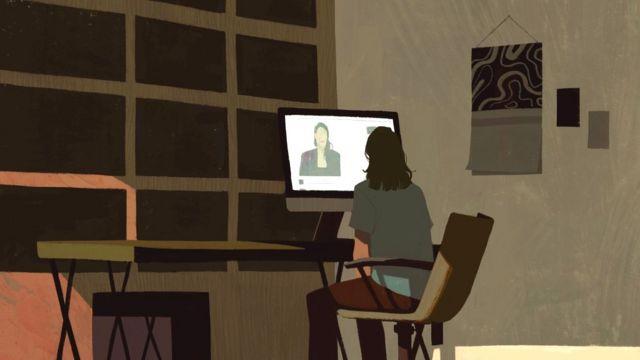 Ilustração de 'Casey' olhando para uma imagem do seu computador de Teal Swan