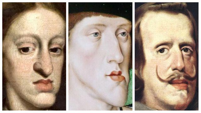 Близкие родственники: Карл II, Карл V и Филип IV Габсбурги (слева направо)