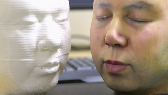 An example of a 3D-printed mask based on the company's chief engineer's face