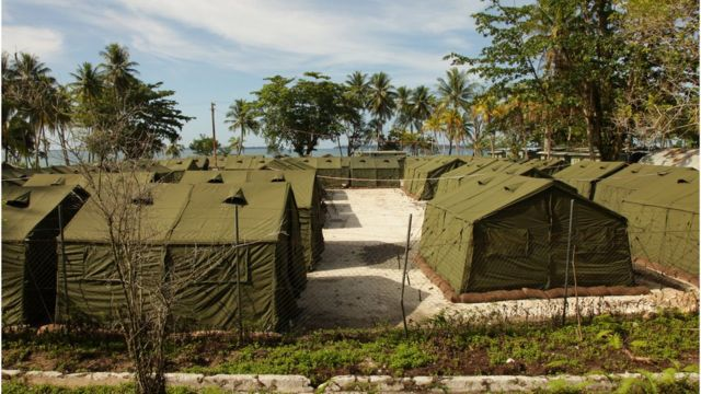 Australian government handout photo, showing dozens of tents at the Manus Island camp