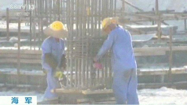 Construction workers on Fiery Cross Reef, Spratly Islands (May 2016)