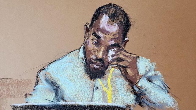 Interpretación artística del testigo Donald Williams, secándose las lágrimas durante su testimonio