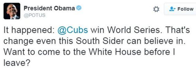 「実現した。カブスがワールドシリーズに優勝した。自分みたいなサウスサイドに人間にとっても、これは信じられる変化だ。僕がここを出る前にホワイトハウスに来る?」とオバマ大統領
