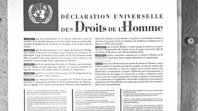 Declaração Universal, em francês, proclamada em 10 de dezembro de 1948