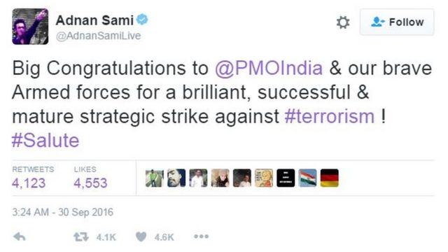 अदनान सामी का ट्वीट