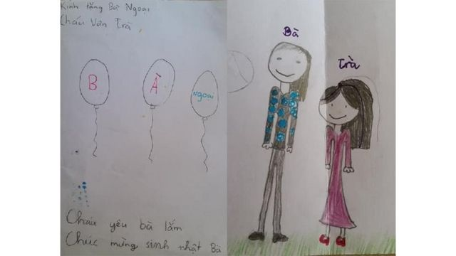 Các em có thể viết thiếp cho ông bà và người thân bằng tiếng Việt