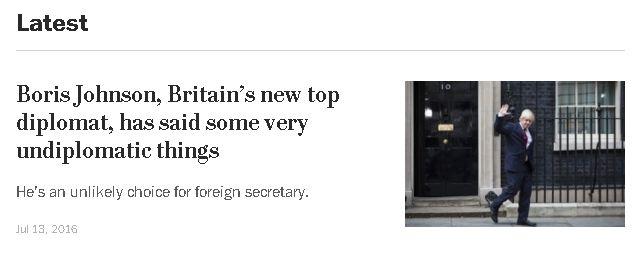 Screenshot reads: Boris Johnson, Britain's new top diplomat, has said some very undiplomatic things