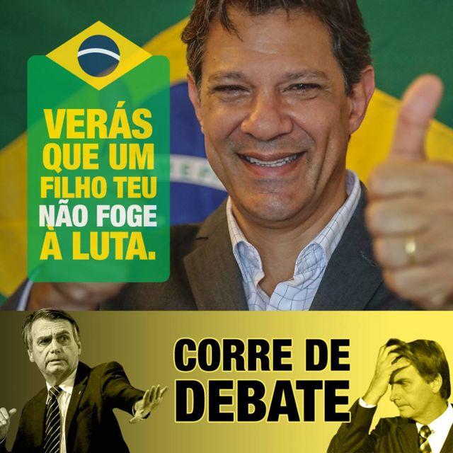 Meme de Bolsonaro fugindo de debate