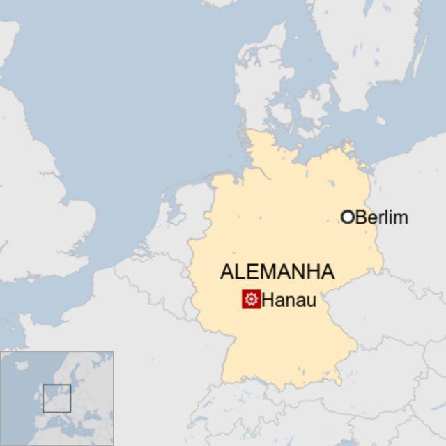 Mapa mostra Alemanha e destaques de Berlim e Hanau