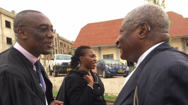 Defence lawyers for Mancho and odas, Maitre Claude Assira, Barrister Benard Muna