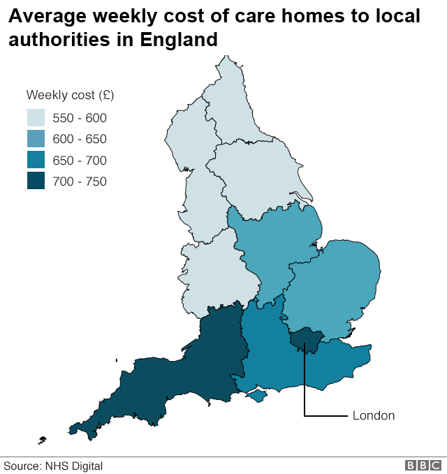 Map of social care expenses