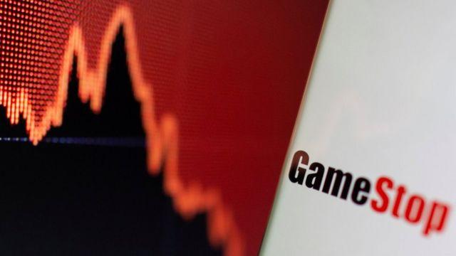 GameStop logo combination with a financial curve